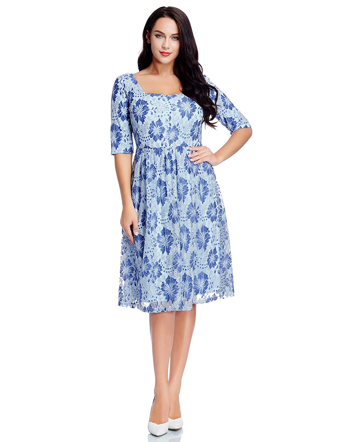 blossil Women\'s Plus Size Floral Lace Mother of The Bride Casual A ...