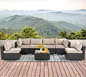 Walsunny 7pcs Patio Outdoor Furniture Sets,Low Back All-Weather Rattan Sectional Sofa with Tea Table&Washable Couch Cushions (Black Rattan)(Khaki/Black)