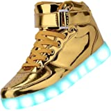 DEMANGO 発光シューズ スニーカー 男女通用 USB充電スニーカー ハイカット 光る靴 スポーツシューズ LEDシューズ 光るシューズ LED靴 レディース メンズ