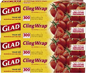 Glad ClingWrap Plastic Food Wrap - 300 Sq Ft (Pack of 4)