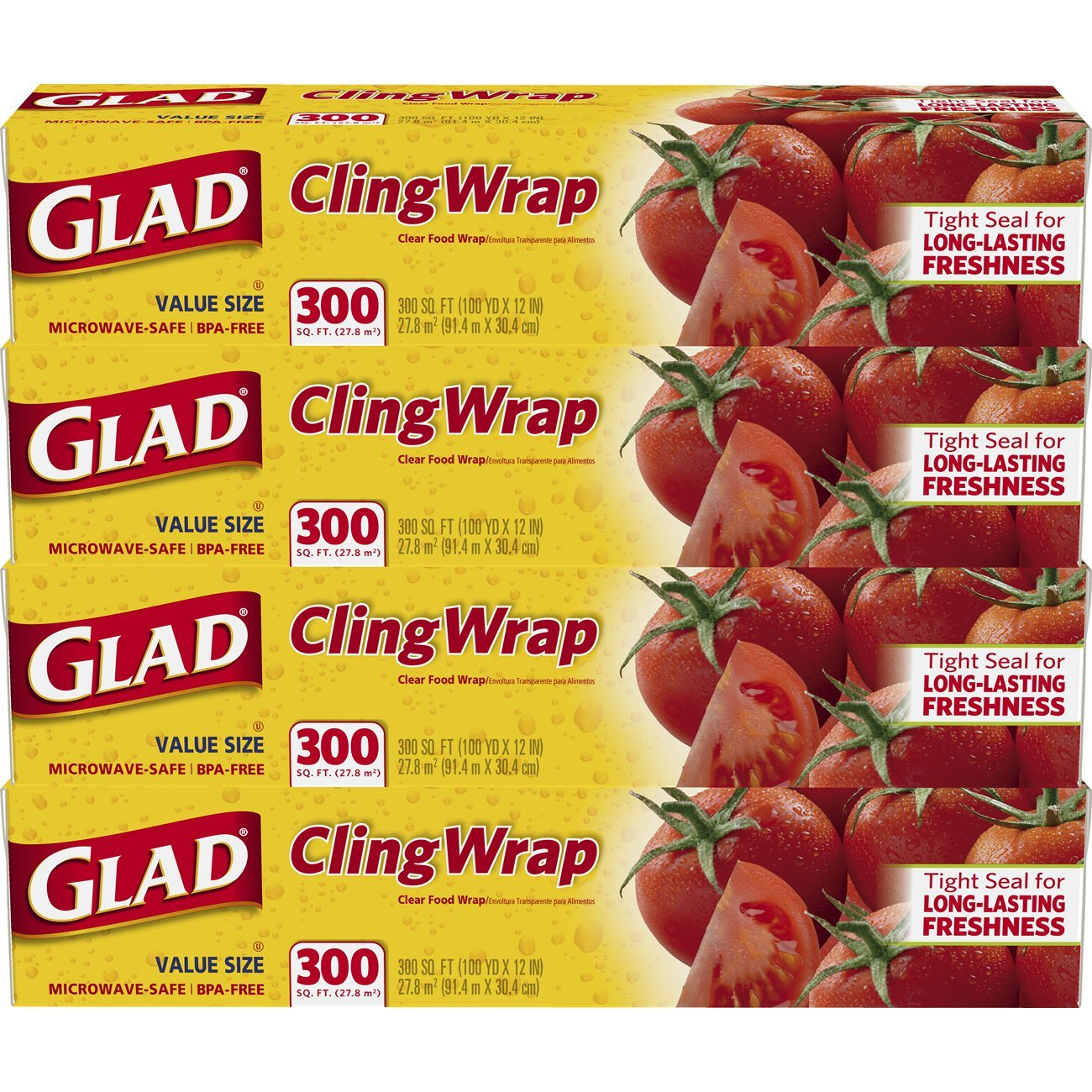 Glad ClingWrap Plastic Food Wrap - 300 Square Foot Roll - 4 Pack