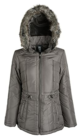 9c7037a3dcff8 Details Women s Warm Winter Parka Puffer Coat with Quilting and Removable  Hood - Fog (Size