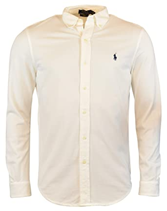 022b0cdd Polo Ralph Lauren Men's Long Sleeve Featherweight Mesh Button Front Shirt  at Amazon Men's Clothing store: