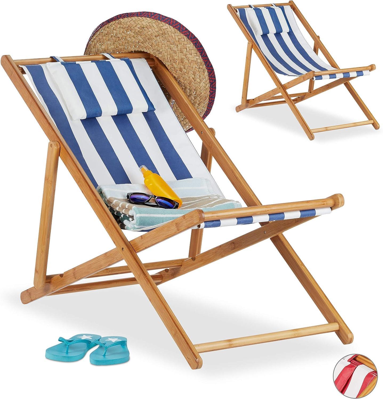 Relaxdays, Azul, Pack 2 Tumbonas Plegables Jardín y Playa con Reposacabezas, Bambú, 79-66 x 55 x 90 cm: Amazon.es: Jardín