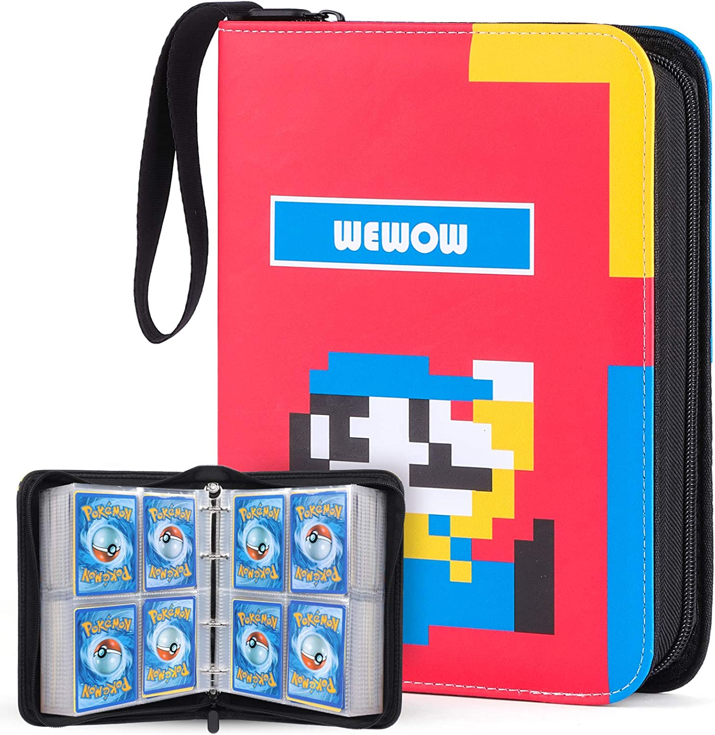 Fits 400 Cards Sleeves with 50 Premium Removable Sheets WEWOW 4-Pocket Card Binder Holder Card Collector Album with Zipper for Basebal Cards Trading Card Case Compatible with Pokemon Card Packs