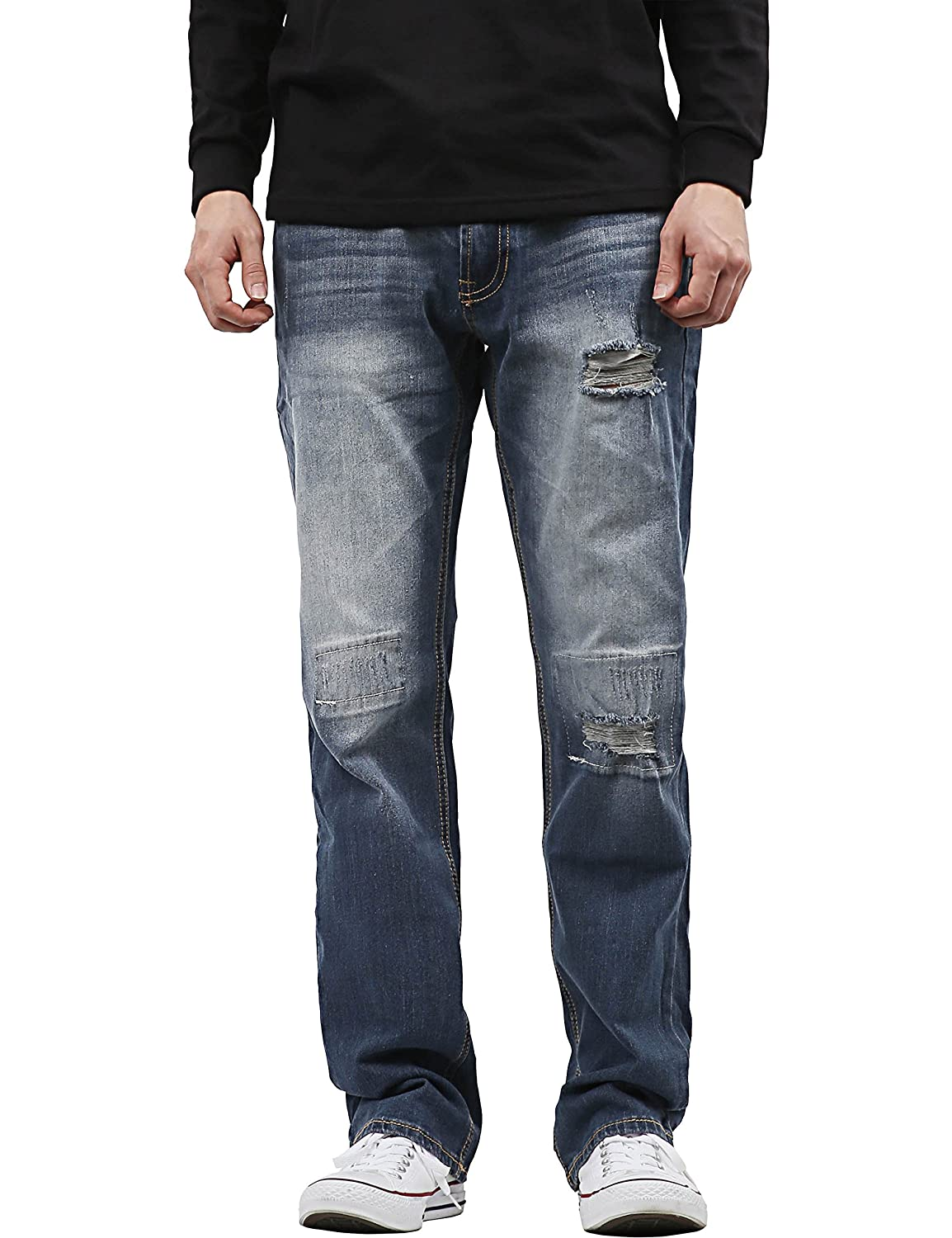 42x32//1PI0011/_007.5yrdestroyed Hat and Beyond Mens Slim Straight Stretch Jeans