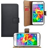 iProtect Samsung Galaxy Grand Prime Kunstleder Tasche im Bookstyle schwarz Schutzhülle