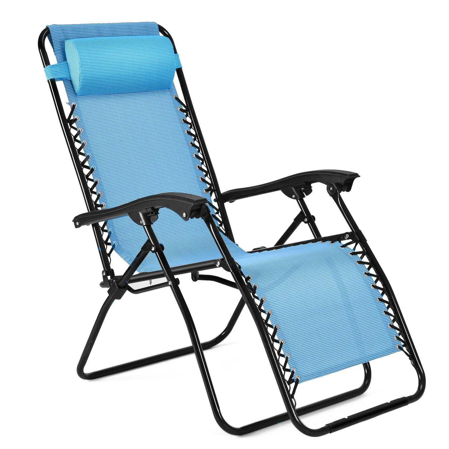 Flexzion Zero Gravity Chair - Anti Gravity Outdoor Lounge Patio Folding Reclining Chair and Textilene Seat with Footrest & Adjustable Pillow for Yard, Beach, Camping, Garden, Pool (Sky Blue)
