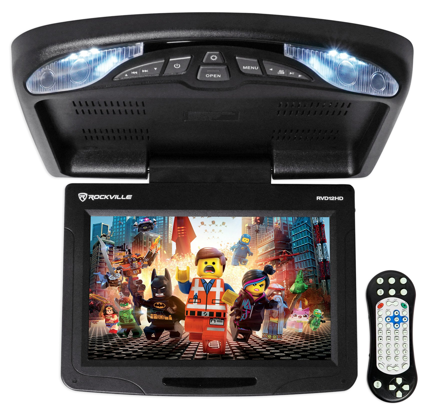 Rockville RVD12HD-BK 12'' Black Flip Down Car Monitor DVD/USB/SD Player + Games
