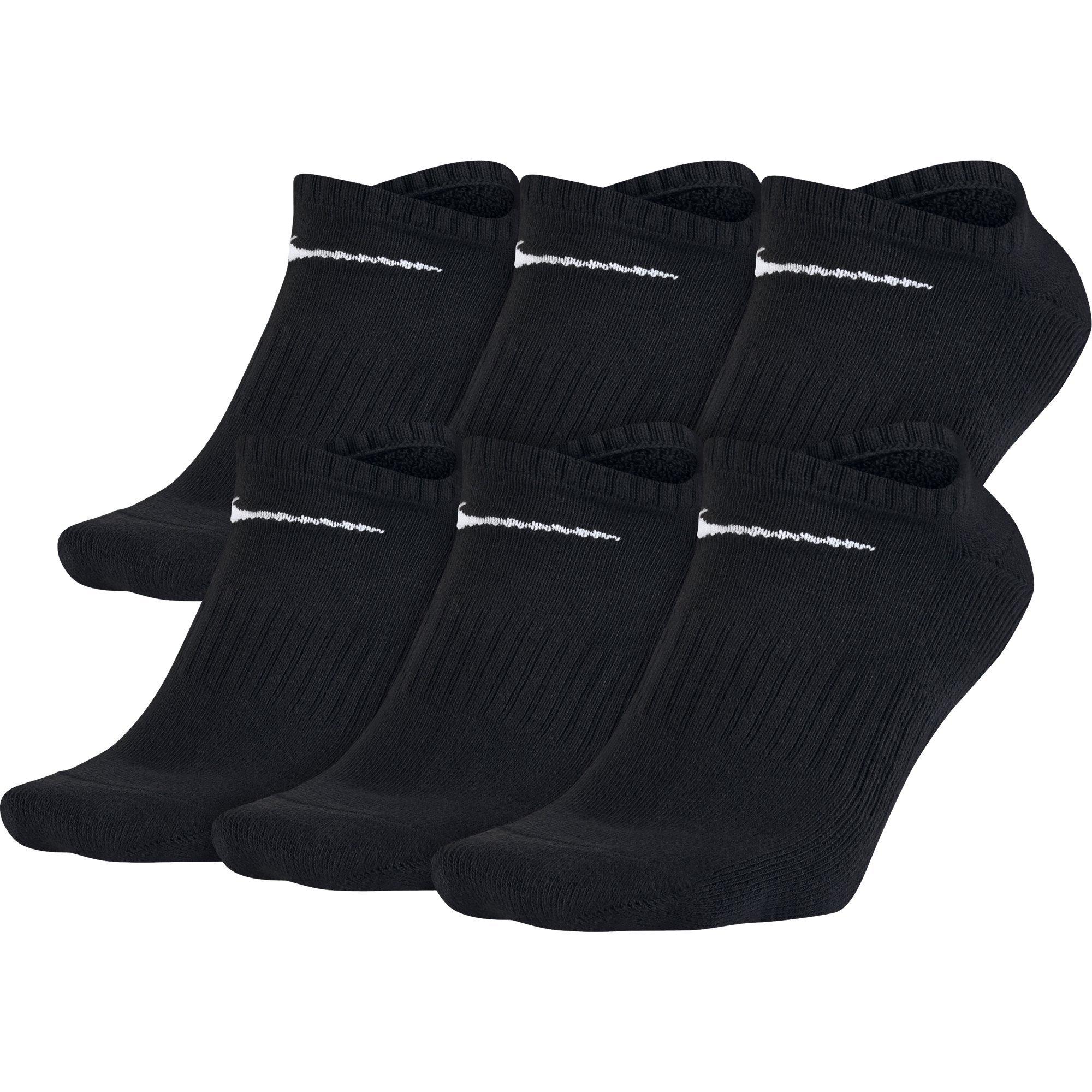 NIKE Unisex Performance Cushion No-Show Socks with Band (6 Pairs), Black/White, Large