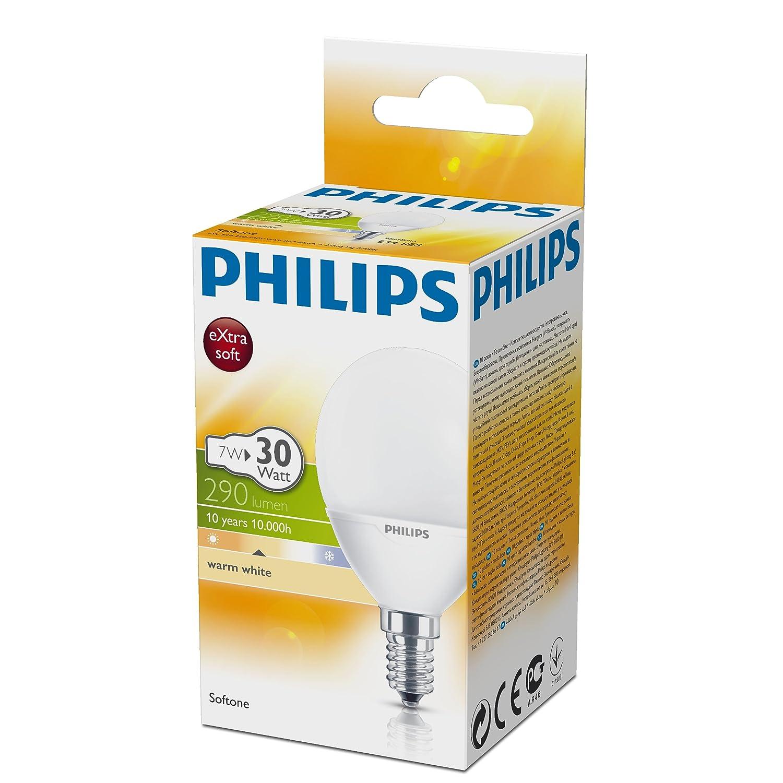 30 W Equivalent, 10000 Hours Philips Softone Compact Fluorescent Luster E14 Small Edison Screw Light Bulb - Warm White 7 W