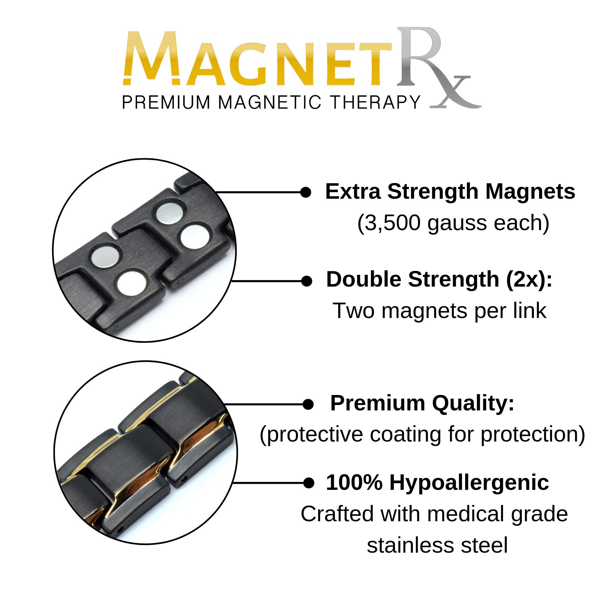 MagnetRX Ultra Strength Magnetic Therapy Bracelet Double Magnet Pain Relief for Arthritis and Carpal Tunnel by MagnetRX (Image #2)