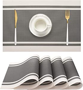 Ourshine Grey Placemats Set of 4 for Dining Table Washable Woven Vinyl Placemat Non-Slip Heat Resistant Kitchen Table Mats Easy to Clean