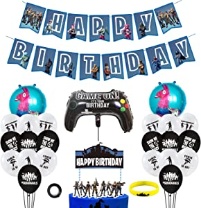 URBAN NIRVANA Party Supplies Set | Happy Birthday Cake Topper Foil & Latex Balloons | Video Game Theme Decorations Supply Kit for Adults, Teens, Boys, Girls and Kids