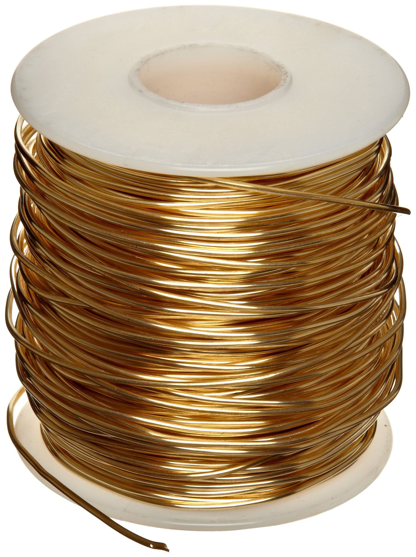 230 Brass Wire, Unpolished (Mill) Finish, Annealed, Soft Temper, ASTM B134, 0.02'' Diameter, 3965' Length by Small Parts