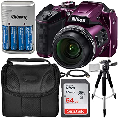 """Nikon COOLPIX B500 Digital Camera (Plum) Starter Bundle Includes, 57"""" Tripod, Camera Case, 64GB Ultra Memory Card, 4AA Rechargeable Batteries and More"""