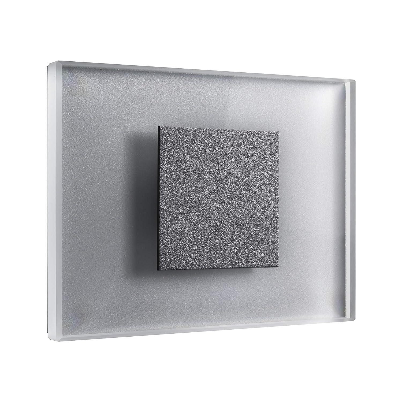 5er SET LED Treppenbeleuchtung Premium SunLED Medium 230V 1W Glas Hochwertig Wandleuchten Treppenlicht mit Unterputzdose Treppen-Stufen-Beleuchtung Wandeinbauleuchte (Warmweiß, Alu  Silbergrau)