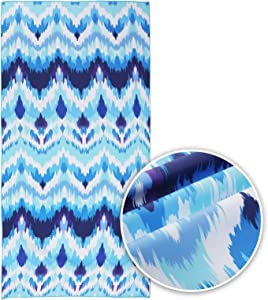 Blue Wave Microfiber Beach Towel Quick Dry Pool Towels 63''x31''Oversized Travel Bath Towel Lightweight Camping Towel Suitable for Adults Women Men