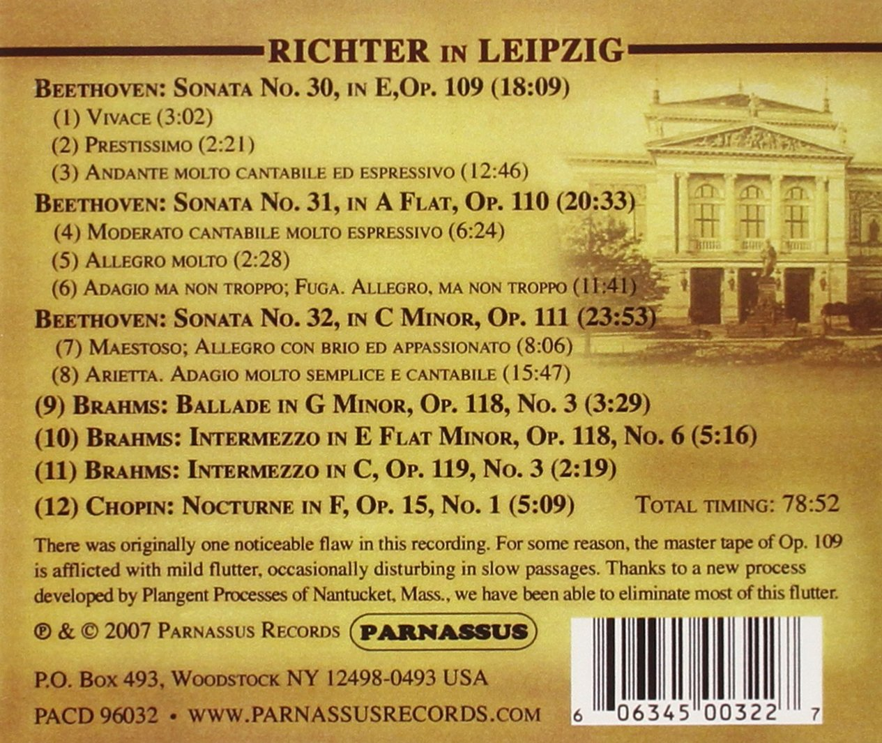 Richter in Leipzig - Beethoven: Piano Sonatas Nos. 30- 32, Opp. 109- 111 (November 28, 1963) by Parnassus