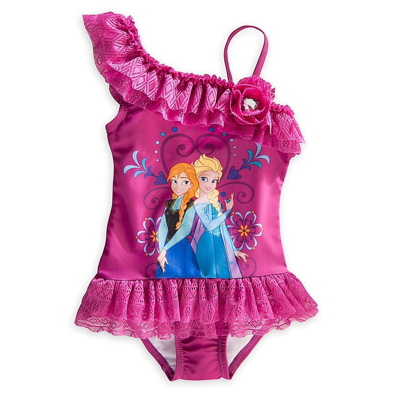 Disney Store Frozen Princess Elsa /& Anna 1 Piece Swimsuit//Swimwear