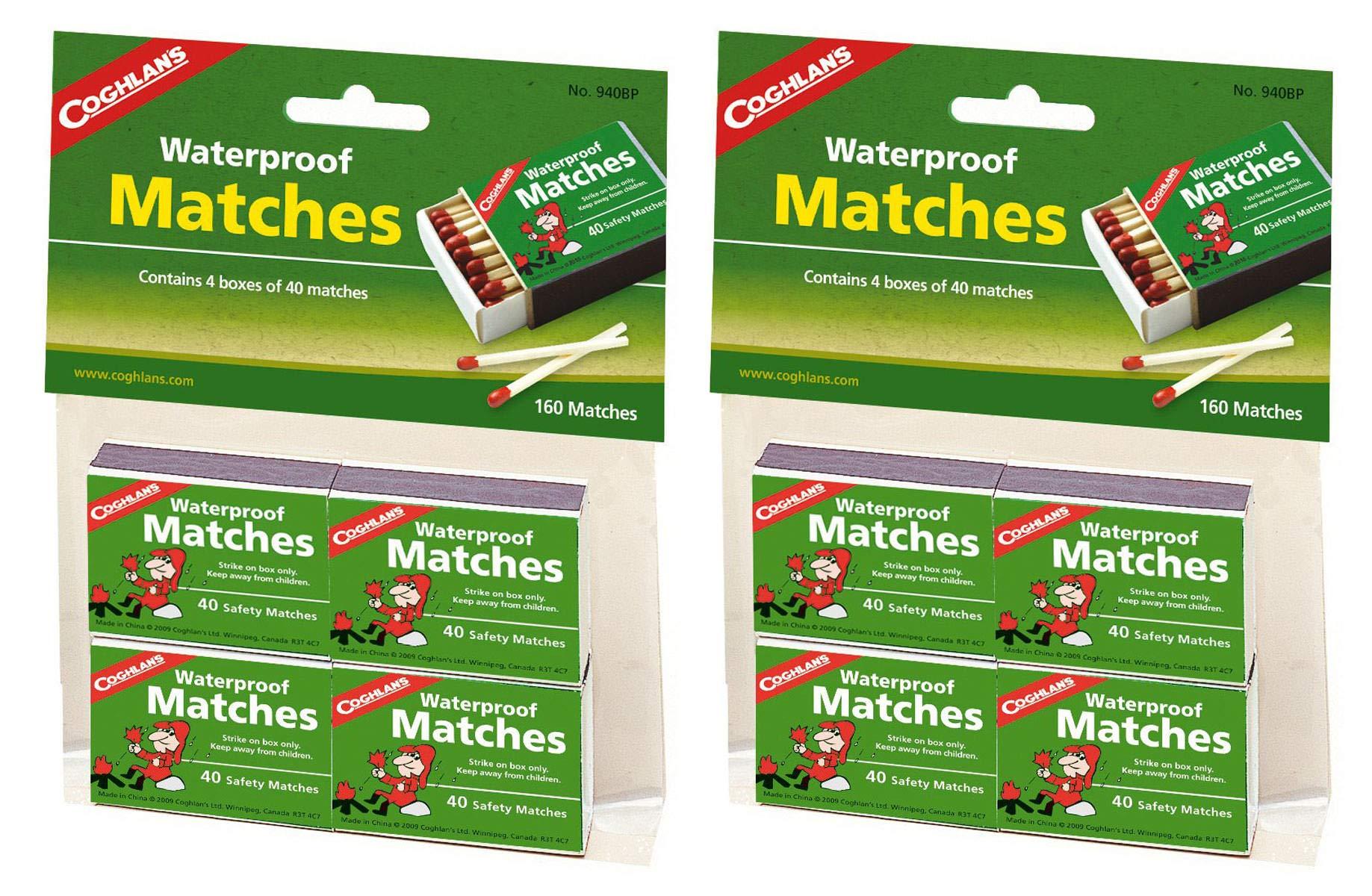 Coghlan's SEQDGUHV 940BP Waterproof Matches, 2 Pack of 8 Boxwe