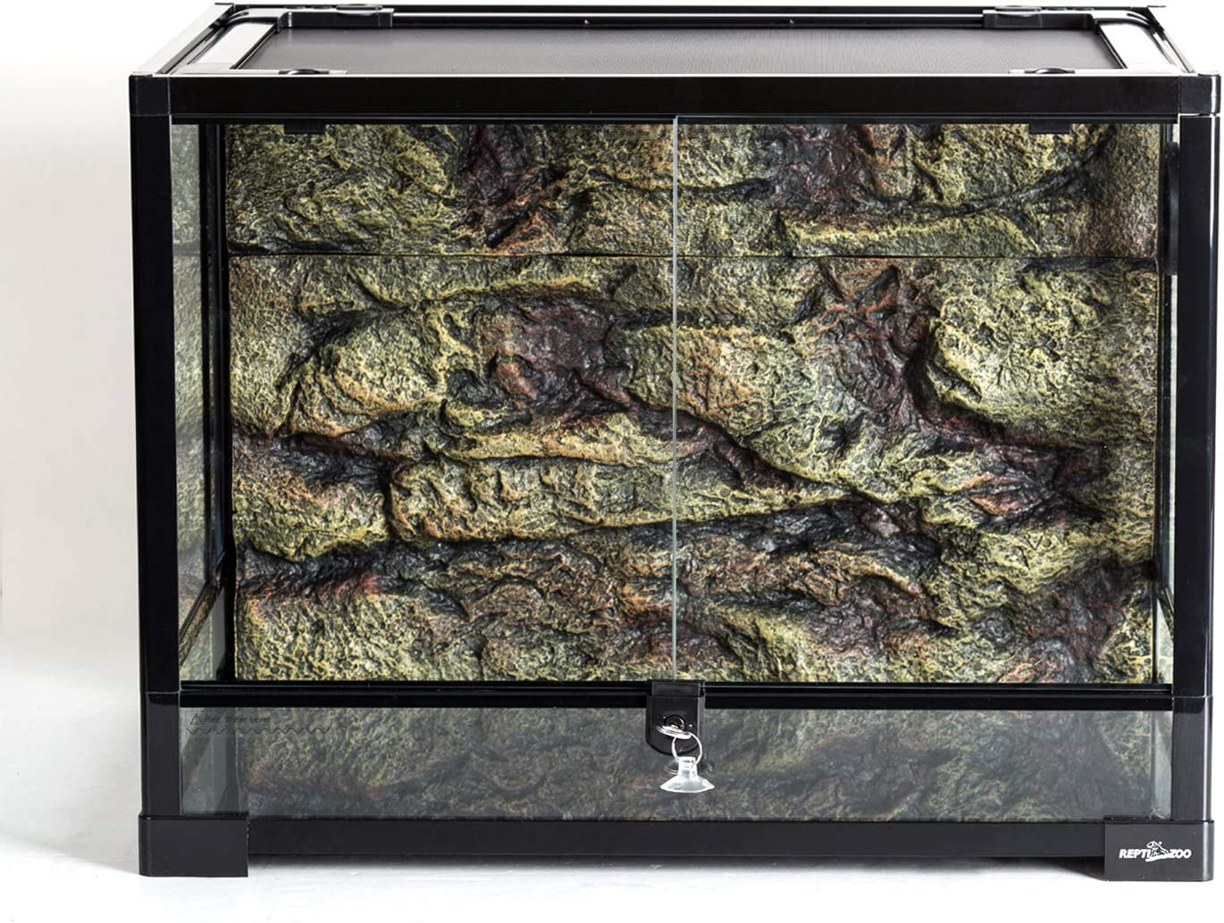 "REPTI ZOO 34 Gallon Large Reptile Glass Terrarium Tank with Foam Backgrounds,Double Hinge Door with Screen Ventilation Reptile Terrarium 24"" x 18"" x 18""(Knock-Down)"