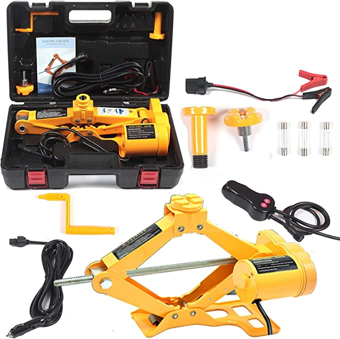 Bestauto 3Ton Electric Hydraulic Floor Jack 12V Electric Hydraulic Jack Set 3 in i Hydraulic Floor Jack with Impact Wrench and LED Light