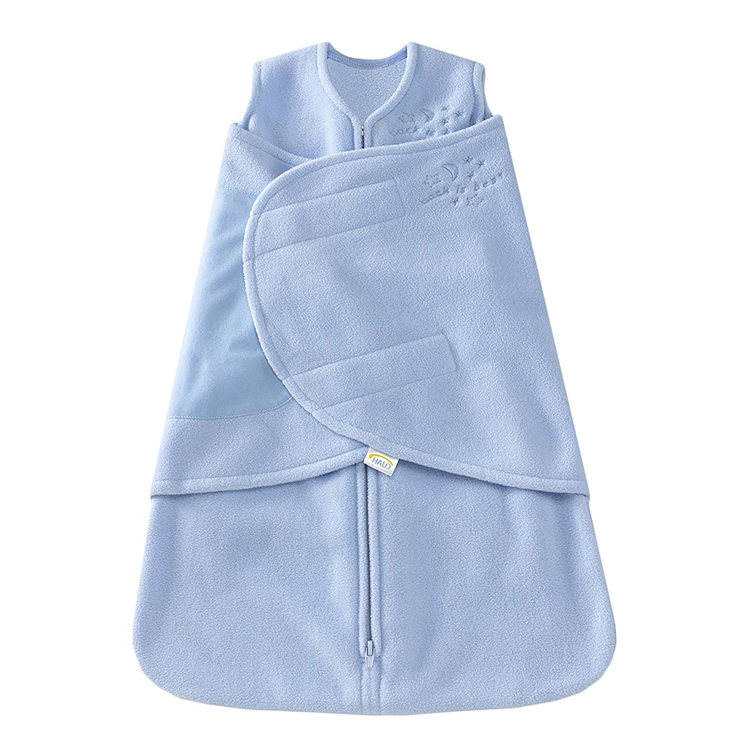 HALO Sleepsack Micro-Fleece Swaddle, Baby Blue, Small: Baby