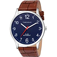 TIMEWEAR Number Dial Brown Strap Watch for Men