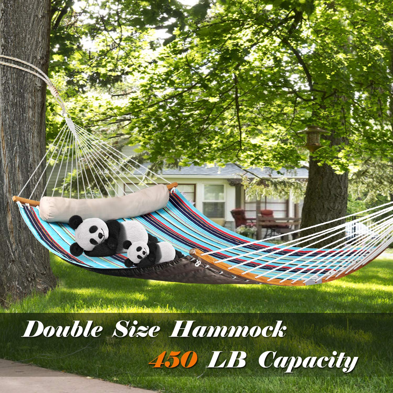 Bathonly 2019 New Double Hammock w Foldable Bar Detachable Pillow, Curved Bar Design Portable Camping Hammock Swing w Small Carrying Bag, Quilted Durable Fabric, Royal Blue