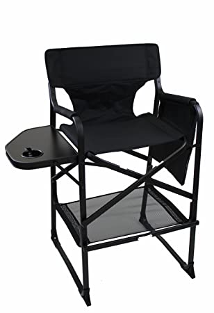World Outdoor Products LIGHTWEIGHT PROFESSIONAL EDITION Tall Directors Chair  Side Table With Cup Holder, Automatic
