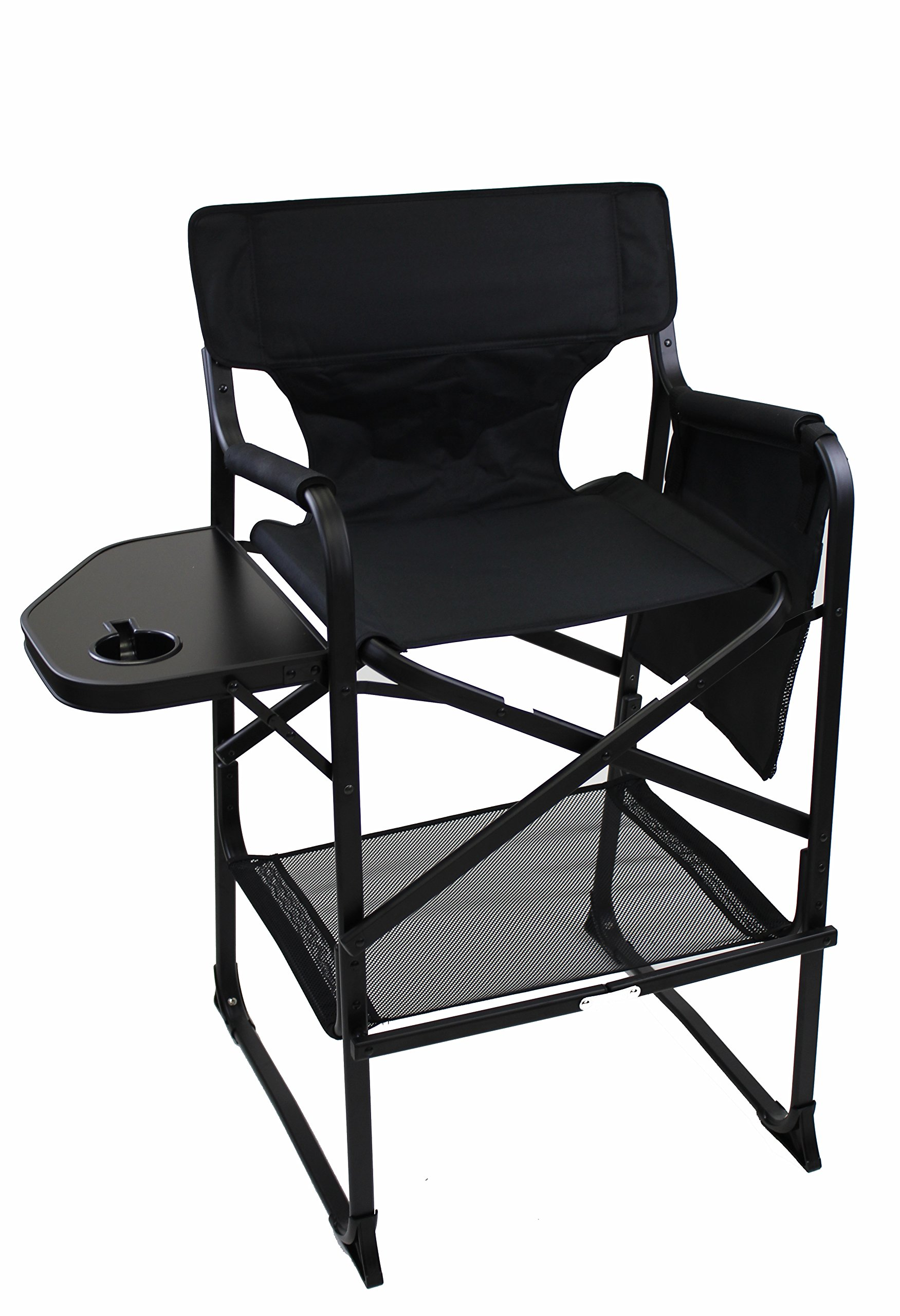 World Outdoor Products LIGHTWEIGHT PROFESSIONAL EDITION Tall Directors Chair Side Table with Cup Holder, Automatic Footrest and Side Bag by World Outdoor Products (Image #1)