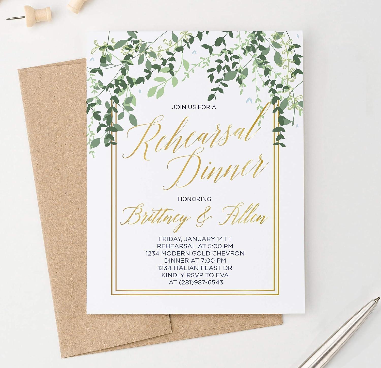 Amazon Com Elegant Greenery Rehearsal Dinner Invitation Gold