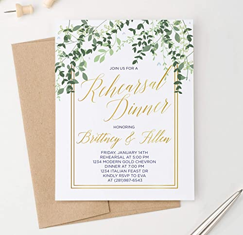 Amazon Com Elegant Greenery Rehearsal Dinner Invitation