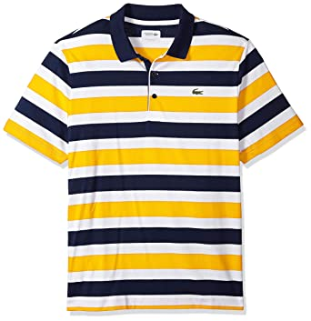 ecde0006a585a Lacoste Men s Short Sleeve Jersey Raye with Multi Color All Over Stripes  Polo