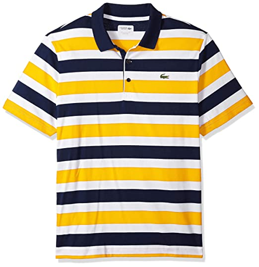Lacoste Men s Short Sleeve Jersey Raye with Multi Color All Over Stripes  Polo, DH3307, 48d3cc33aa10