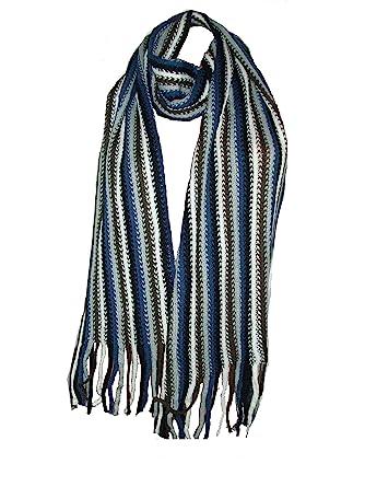 7f6016ec961a Écharpe Foulard chèche Homme Femme Rayures - Bleu noir gris blanc   Amazon.fr  Vêtements et accessoires