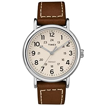 0be08264f7cc Amazon.com  Timex Men s TW2R42400 Weekender 40 Brown Cream Leather ...