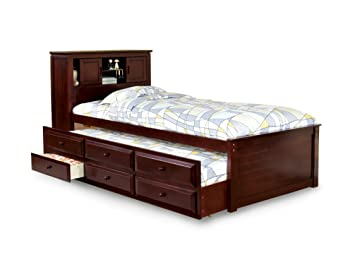 furniture of america cameron twin captain bed with trundle and drawer set cherry - Twin Captains Bed