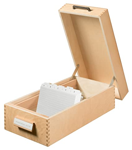 Amazon.com : HAN 1006 Index Card Box Wood for Maximum 1500 Cards A6 Landscape 193 x 144 x 380 mm : Office Products