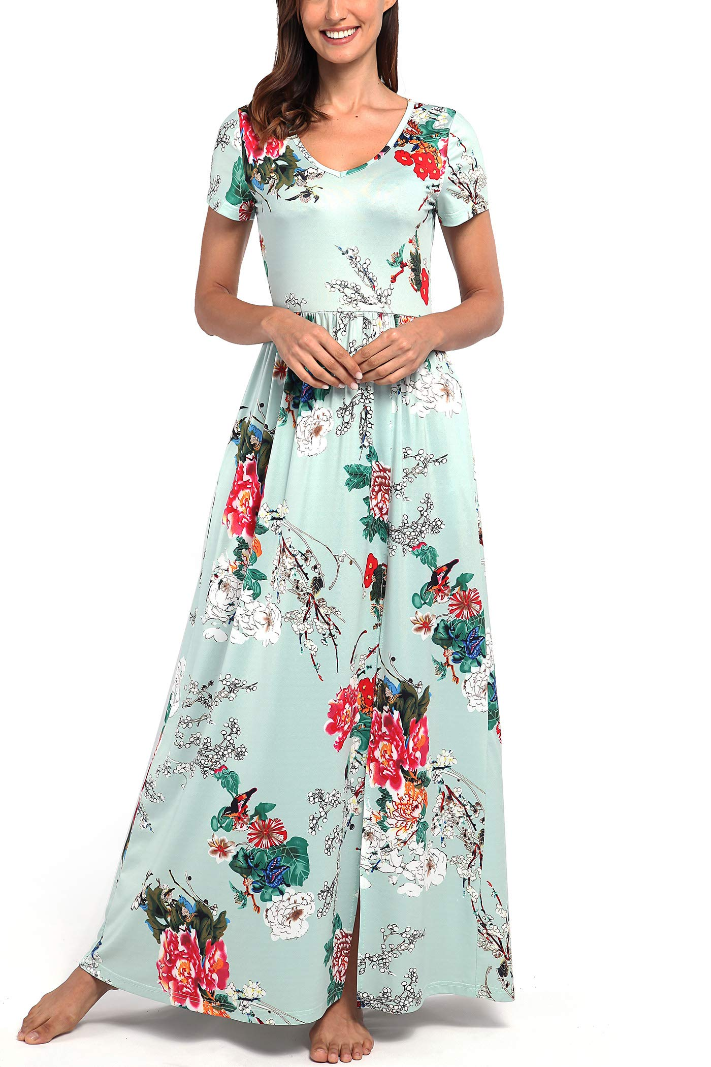 Comila Flowy Dresses for Women Plus Size, Classic Floral Split Maxi Dresses Flowy Summer Dresses Short Sleeve Travel Formal Party Casual Beach Dress Turquoise XXL (US 18-20)
