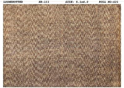Herringbone Earth Tones Modern Handmade Rug 5 x 8 Brown