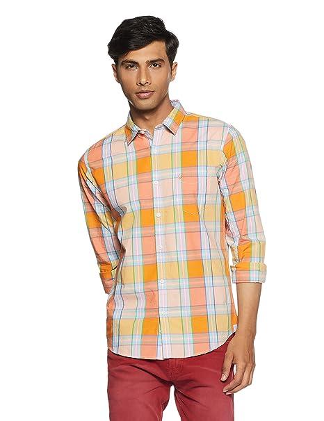 United Colors of Benetton Men s Checkered Slim Fit Casual Shirt  Amazon.in   Clothing   Accessories e45a9505e0e3