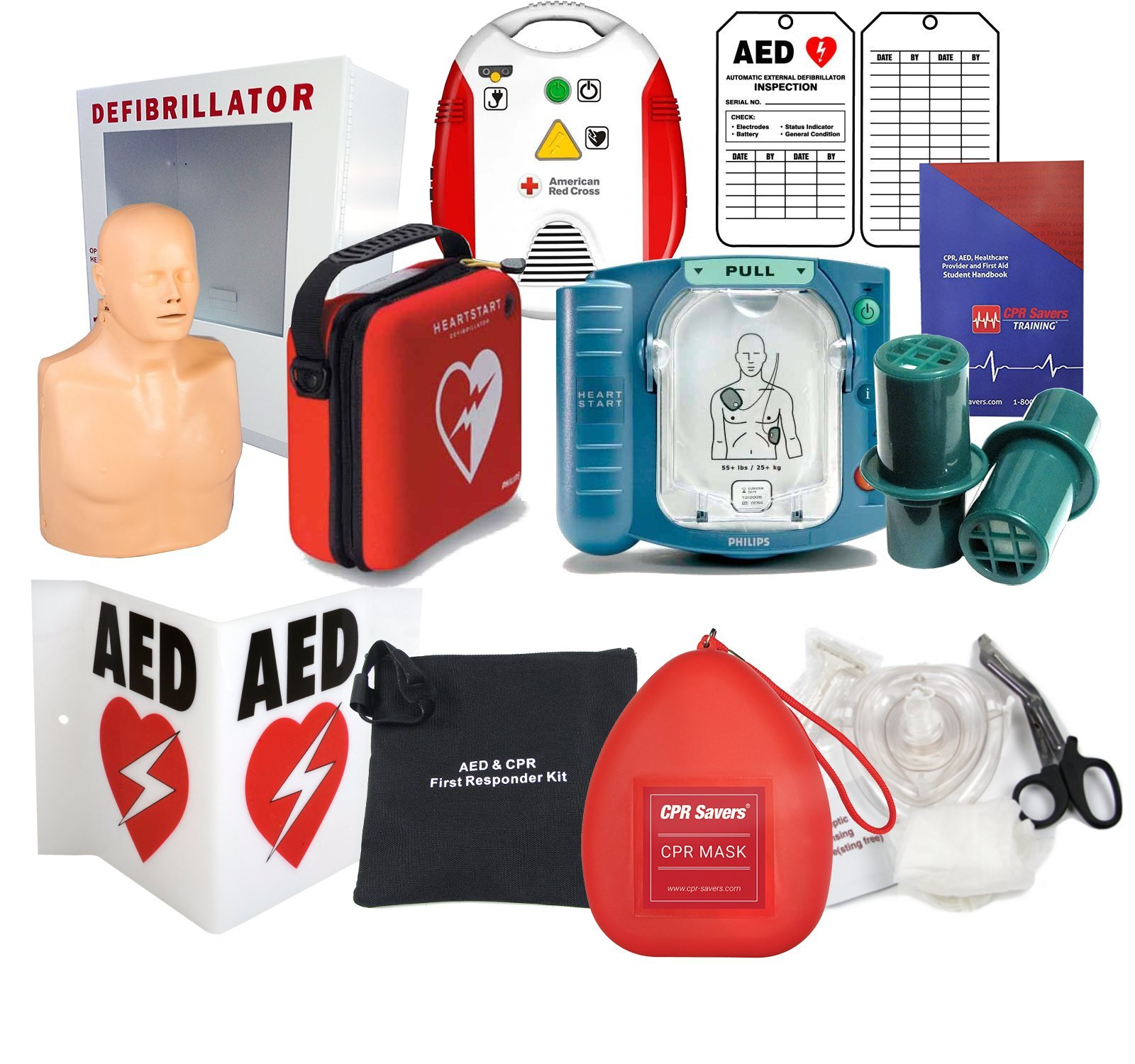 Deluxe AED Defibrillator and Training Package