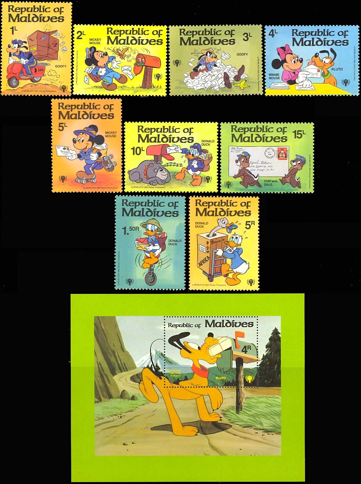 Maldives Disney International Year of the Child SET of 9 Plus Souvenir Sheet