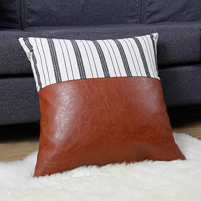 1 Pack Thick Faux Leather Pillow Covers 18x18 Inches Square Modern Decorative Farmhouse Boho Scandinavian Home Décor For Couch Bed Sofa Sunroom Modern Brown Cushion Cases With Black Stripes Home Kitchen