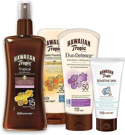 Hawaiian Tropic PACK Ultra Protección - Kit con Aceite Seco Bronceador Spray SPF 15 + Crema Solar Ultra Radiance SPF 30 + Loción Solar Piel Sensible SPF 50 + Crema Protectora DUO Defence SPF 50: Amazon.es: Belleza