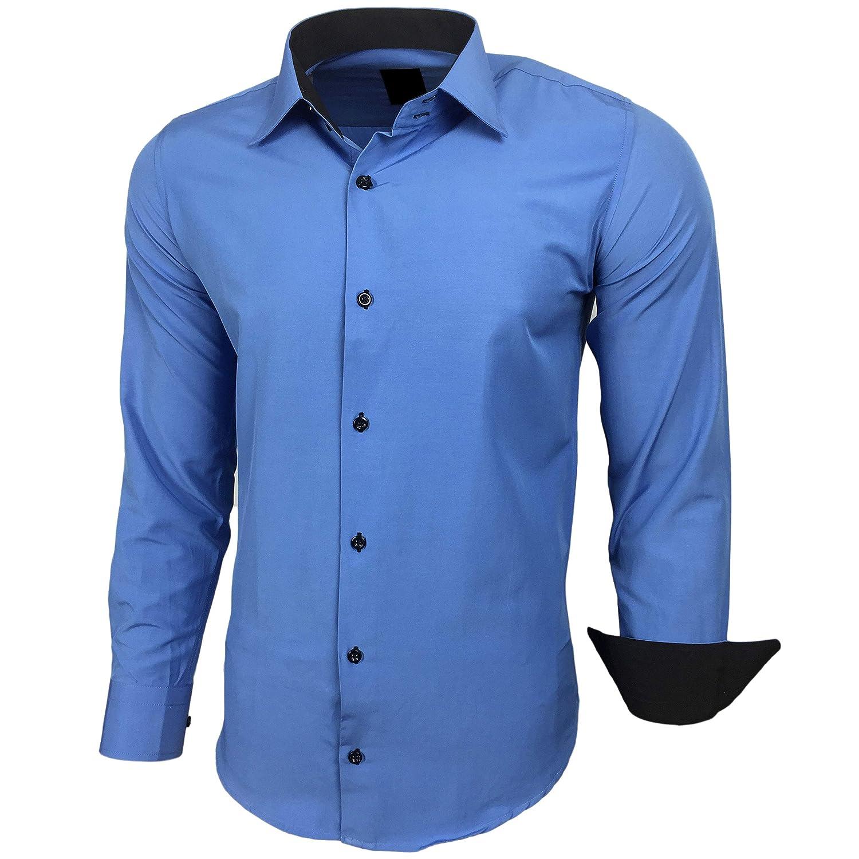 Baxboy Herren-Hemd Slim-Fit Bügelleicht Für Anzug, Business, Hochzeit, Freizeit - Langarm Hemden für Männer Langarmhemd R-44