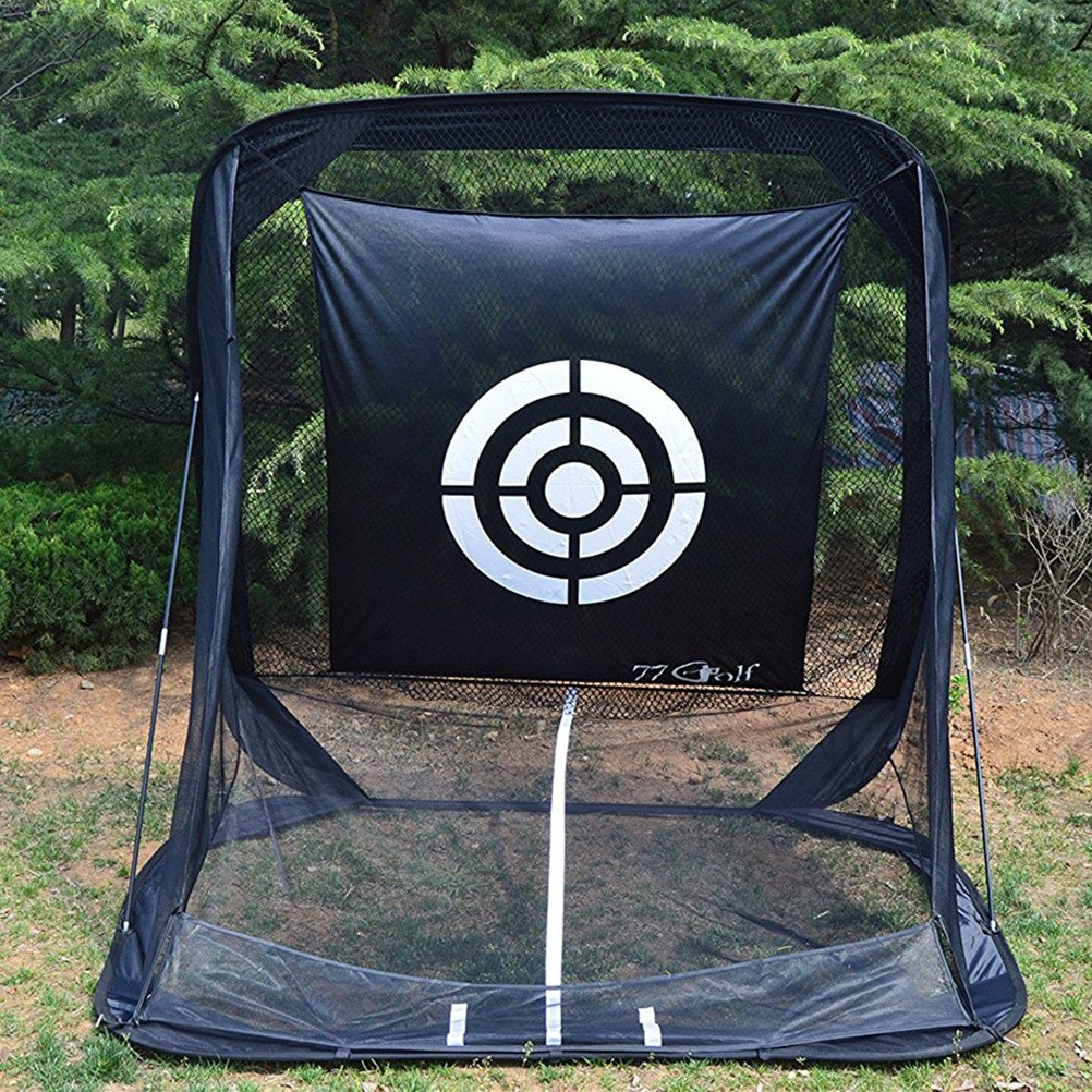 Golf Practice Hitting Net Cage Auto Ball Return System Tri-ball Golf Driving Swing Net with Target sheet and Two Side Barrier (New Style)