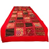 """Tribe Azure Fair Trade Red Table Runner Cotton 18"""" x 58"""" Hand Embroidered Boho Bohemian Colorful Patchwork Indian…"""